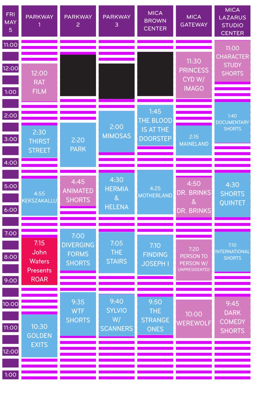 Friday May 5 Schedule Grid MdFF 2017