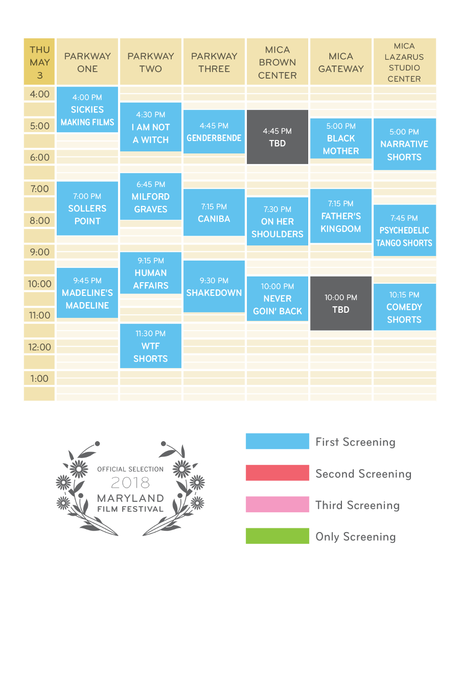 Thursday May 3 Schedule Grid MdFF 20187