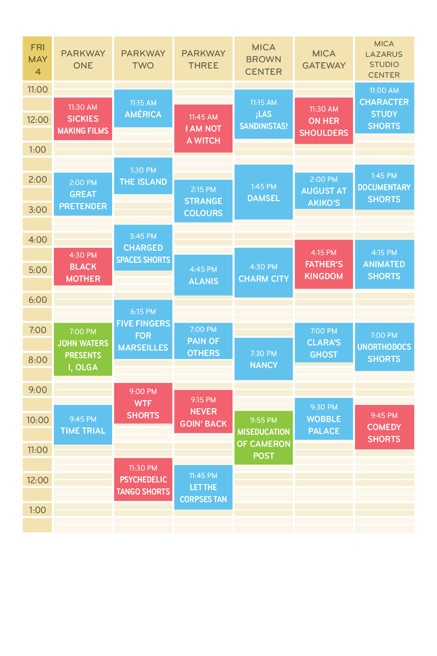 Friday May 4 Schedule Grid MdFF 2018