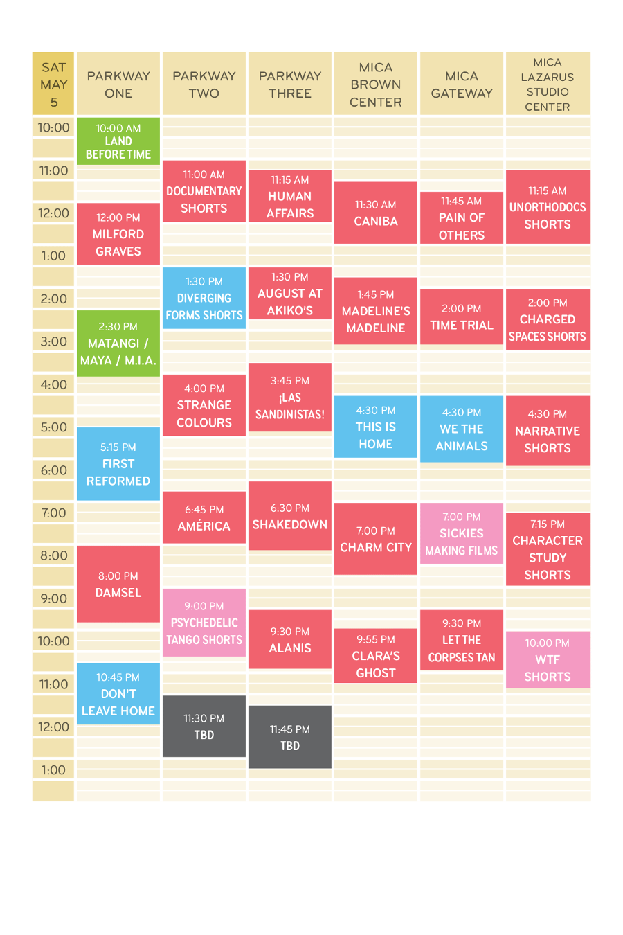 Saturday May 5 Schedule Grid MdFF 2018